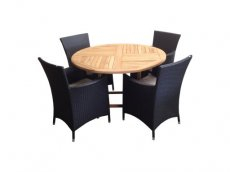 Round teak 120 table set